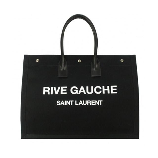 YSL SAINT LAURENT 素面帆布壓印字母LOGO購物包(黑)