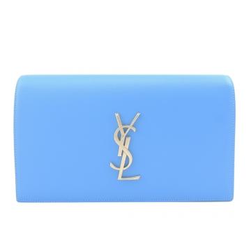 YSL 簡單LOGO立體翻蓋手拿包(水藍)