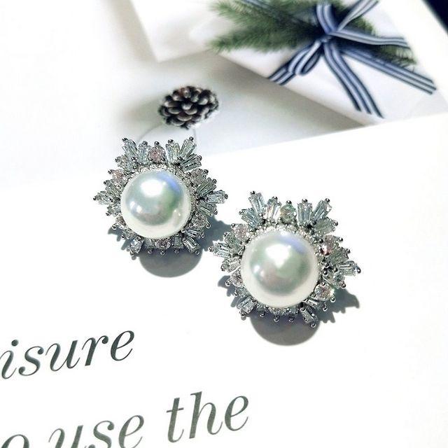 【I JEWELRY】頂級手工純銀訂製系列 歐美巴洛克頂級鋯石珍珠純銀耳環