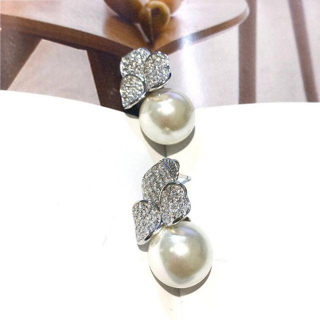 【I JEWELRY】頂級手工純銀訂製系列 經典幸運三葉草閃耀鋯石珍珠純銀耳環