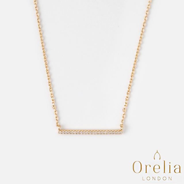 【英國 Orelia】Fine Crystal Bar 經典簡約風水晶項鍊(金)