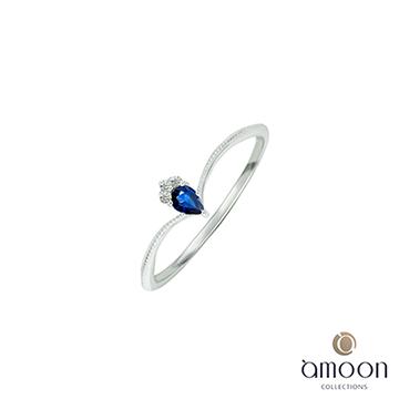 amoon 璀璨星空系列 閃爍 10K金鑽石/藍寶石戒指