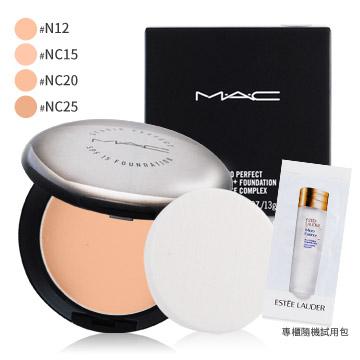M.A.C 超持妝無瑕粉餅 SPF15/PA+(13g)多色可選 含盒+專櫃精華液試用包(隨機出貨)X1